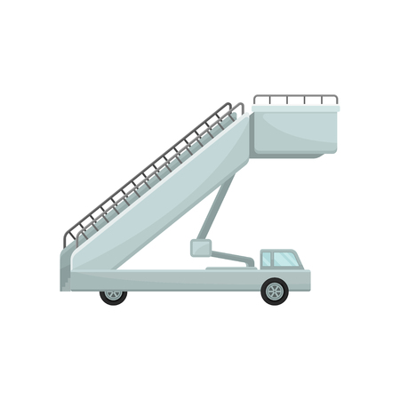 Passenger boarding stairs car. Aircraft steps. Airplane staircase. Airport equipment theme. Flat vector design