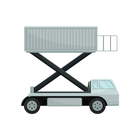 Aircraft passenger lift or catering truck, side view. Equipment for plane boarding. Airport theme. Flat vector design