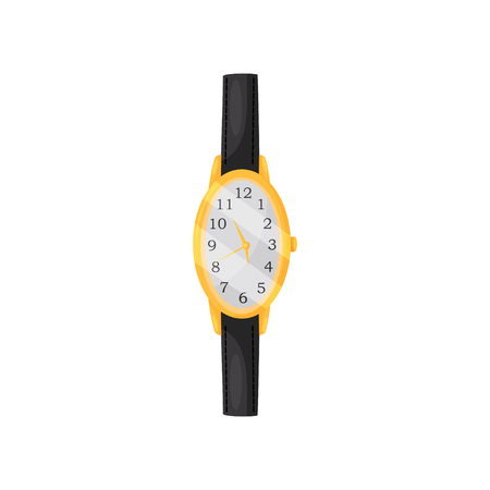 Beautiful female wrist watch with oval golden frame and black leather strap. Elegant women accessory. Time symbol. Colorful icon in flat style isolated on white background. Cartoon vector illustration