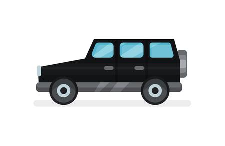 Flat vector icon of black jeep. Urban transport. Modern passenger car. Automobile and transportation theme