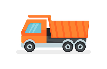 Large dumper truck with tipping body. Industrial transport. Heavy equipment. Flat vector icon