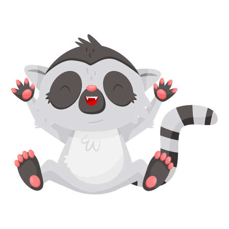 Icon of funny laughing lemur with paws up. Cartoon character of exotic animal with long striped tail. Graphic element for mobile game or children book. Flat vector design isolated on white background.