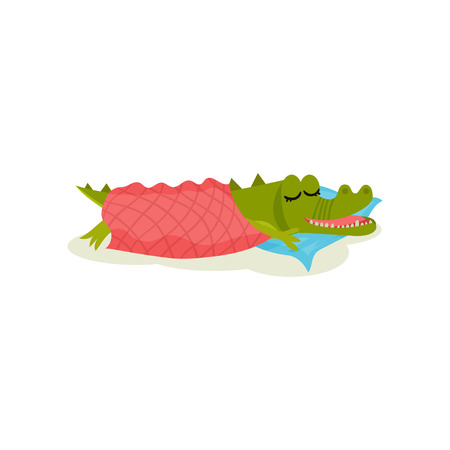 Cute green crocodile sleeping on pillow under warm blanket. Cartoon character of funny humanized animal. Colorful graphic element for children book. Flat vector design isolated on white background.