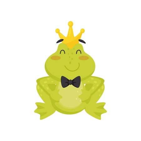 Icon of cute smiling frog with golden crown on head and black tie bow on neck. Adorable green toad with pink cheeks. Graphic element for children book or mobile game. Isolated flat vector illustration