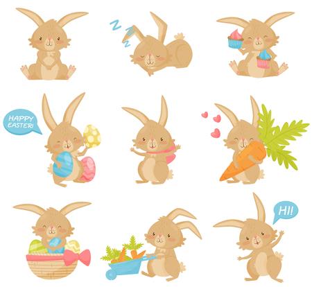 Set von Osterhasen in verschiedenen Aktionen. Entzückender brauner Hase mit langen Ohren und kurzem Schwanz. Zeichentrickfigur des Säugetiers. Elemente für Postkarten oder Kinderbücher. Isolierte flache Vektorsymbole. Vektorgrafik