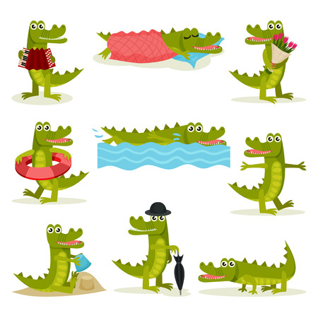 Flat vector set of funny crocodile in different actions. Green predatory reptile. Funny humanized animal Vectores