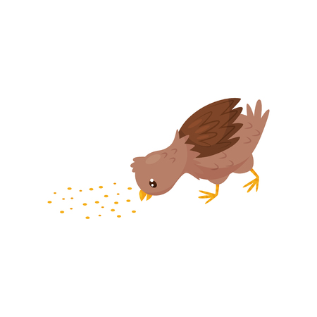 Small brown chicken eating grain. Young farm bird. Domestic fowl. Graphic element for children book or mobile game. Cartoon vector design. Colorful flat illustration isolated on white background. Illustration