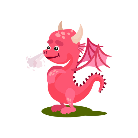Cute pink dragon with steam from the nose. Funny mythical creature with small wings, horns and long tail. Cartoon character of fantastic animal. Flat vector illustration isolated on white background.