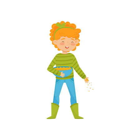 Cute girl with bowl of gains in hand, feeding farm birds. Child in sweater, pants and rubber boots. Flat vector design Standard-Bild - 113503663