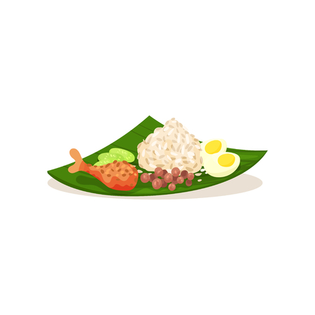Malaysian nasi lemak on green leaf. Rice with boiled egg, chicken leg sliced cucumber and peanuts. Traditional Asian food. Graphic element for cafe or restaurant menu. Isolated flat vector design.