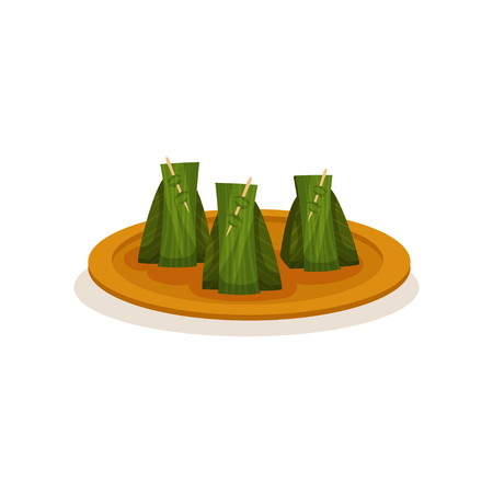 Nasi lemak wrapped with banana leaf. Traditional Malaysian dish on plate. Asian cuisine. Tasty food. Culinary theme. Graphic element for cafe menu. Flat vector design isolated on white background. Illustration