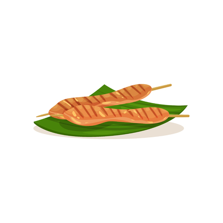 Malaysian chicken satay on wooden sticks. Traditional Asian barbecue on green banana leaf. Street food. Tasty snack. Graphic element for cafe menu. Flat vector design isolated on white background.