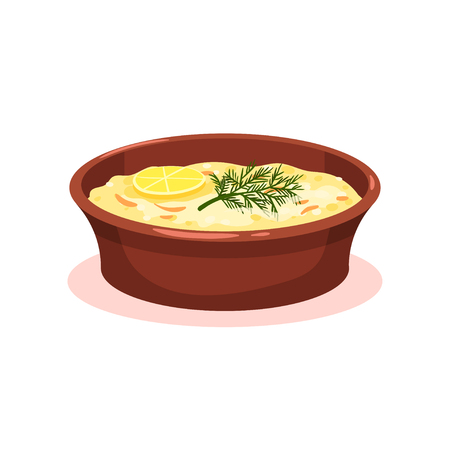 Casserole with vegetables and meat, moussaka, Bulgarian cuisine national food dish vector Illustration on a white background Stock Photo