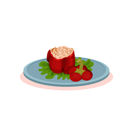 Stuffed baked pepper on a plate, Bulgarian cuisine national food dish vector Illustration on a white background Banque d'images - 113503684