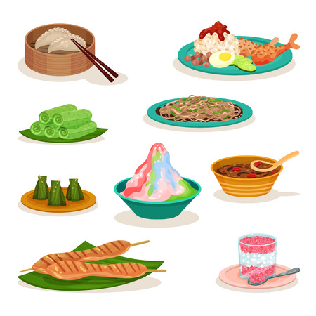 Flat vector set of different Malaysian dishes. Delicious food. Asian cuisine. Culinary theme