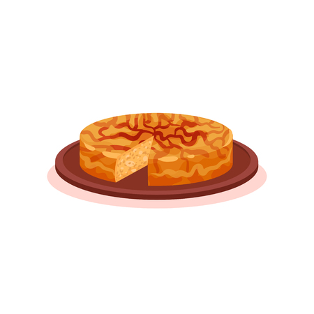 Patatnik traditional pie with potato and cheese, Bulgarian cuisine national food dish vector Illustration on a white background