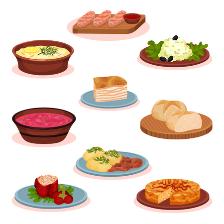 Bulgarian cuisine national food dishes set, traditional healthy food vector Illustration on a white background Stock Photo