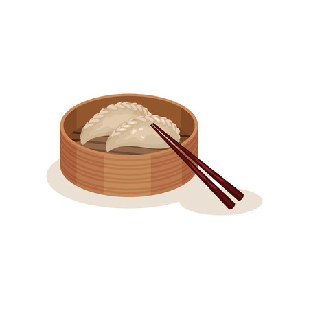 Steamed dumplings or chai kueh in wooden container and chopsticks. Traditional Malaysian dish. Flat vector icon Stock Photo