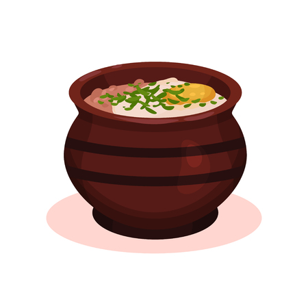 Traditional clay ceramic soup pot, Bulgarian cuisine national food dish vector Illustration on a white background Stock Photo