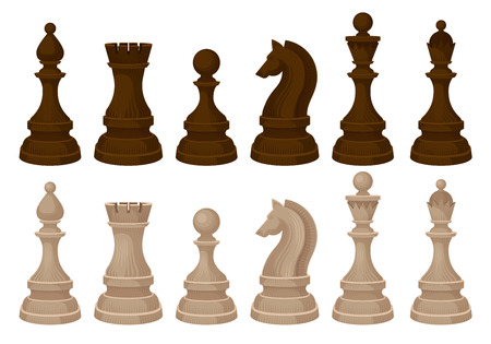 Flat vecror set of chess pieces. Brown and beige wooden figures. Strategic board game Illustration