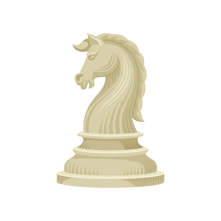 Icon of chess piece - knight horse in beige color. Small wooden figurine of board game. Decorative graphic element for promo poster or banner. Flat vector illustration isolated on white background.