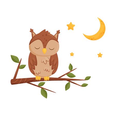 Civetta addormentata sveglia che si siede su un ramo, personaggio dei cartoni animati dell'uccello adorabile, elemento di disegno di buona notte, sogni d'oro vettoriale illustrazione isolato su sfondo bianco.