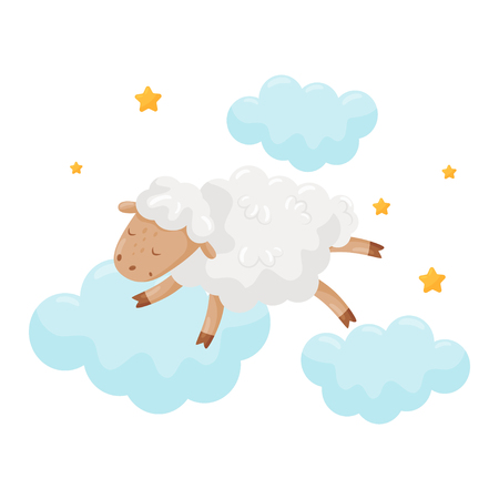 Cute little sheep sleeping on a cloud, lovely animal cartoon character, good night design element, sweet dreams vector Illustration isolated on a white background.