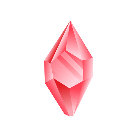 Ruby crystal, precious gemstone or semiprecious stone vector Illustration isolated on a white background.