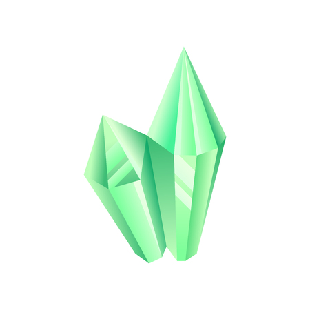 Green crystal, precious gemstone or semiprecious stone vector Illustration on a white background