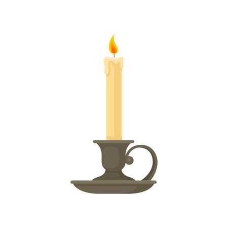 Burning candle in a vintage candle holder, candlestick vector Illustration isolated on a white background.