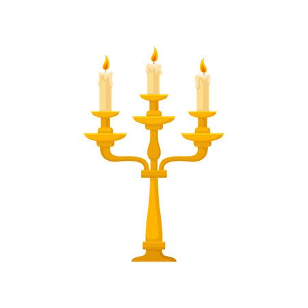 Candelabrum with three burning candles with melting wax, vintage golden candlestick vector Illustration on a white background