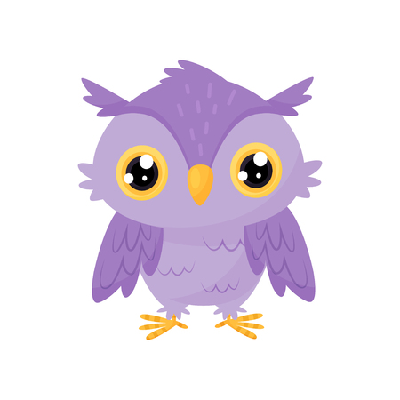 Lovely purple owlet, cute bird cartoon character, design element for Birthday party vector Illustration isolated on a white background. Illustration