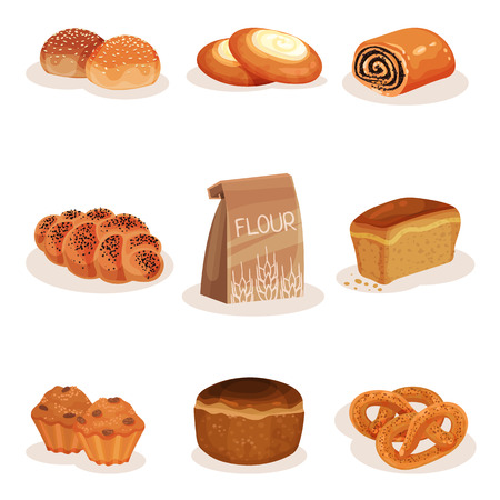 Fresh baked bread and bakery pastry products set, braided loaf, bun, cheesecake, pretzel muffins vector Illustration isolated on a white background.