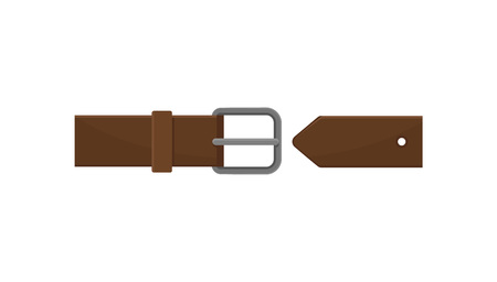 Dark brown men belt with gray metal buckle. Classic leather accessory. Element of clothing. Graphic design for poster of fashion store. Vector illustration in flat style isolated on white background. Ilustração