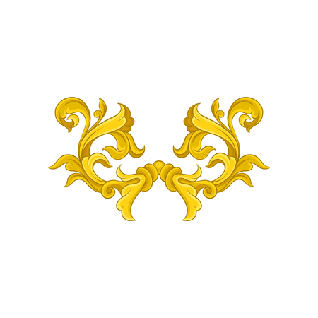 Vintage baroque pattern. Golden floral ornament in Victorian style. Luxurious decoration. Graphic element for advertising poster or invitation card. Vector illustration isolated on white background. Ilustração