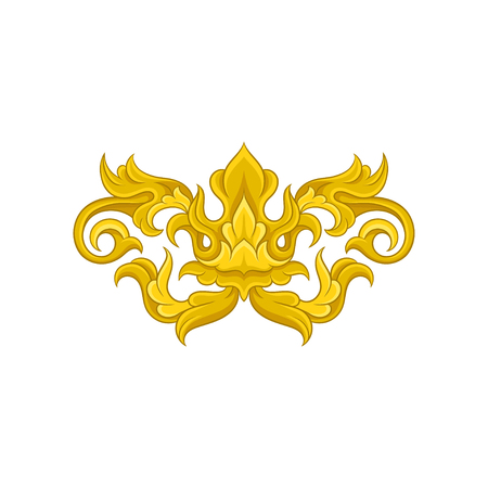 Original baroque ornament. Golden floral arabesque. Vintage pattern in Victorian style. Graphic element for wedding invitation or poster. Decorative vector illustration isolated on white background. Ilustração