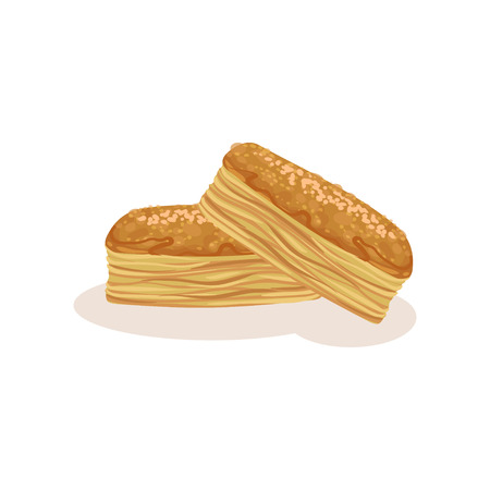 Puff pastry cookie, bakery fresh tasty product vector Illustration isolated on a white background. Иллюстрация