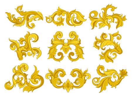 Vector set of vintage baroque ornaments. Elegant floral patterns in Victorian style. Luxurious ornamental elements Vettoriali