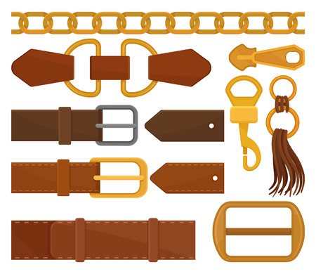 Set of different belt elements. Trendy leather waistbands and tassel, golden chain, zipper pull and carabiner. Fashion embellishment. Colorful flat vector illustrations isolated on white background.