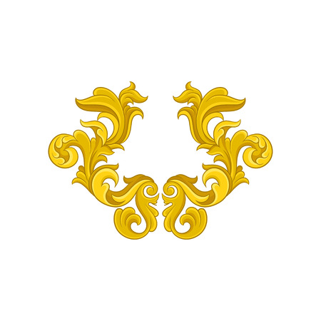 Icon of golden baroque ornament. Luxurious pattern in antique style. Elegant floral arabesque. Graphic element for postcard or wallpaper. Decorative vector illustration isolated on white background.