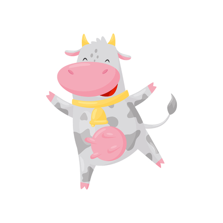 Cute happy cow with golden bell having fun, funny farm animal cartoon character vector Illustration isolated on a white background.