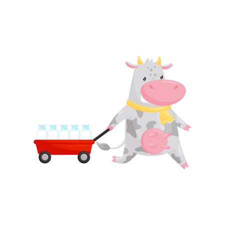Lovely cow pulling cart with glass bottles of milk, funny farm animal cartoon character vector Illustration isolated on a white background.
