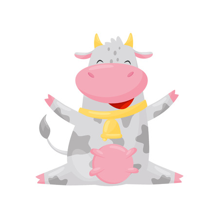 Happy smiling cow, funny farm animal cartoon character vector Illustration isolated on a white background.