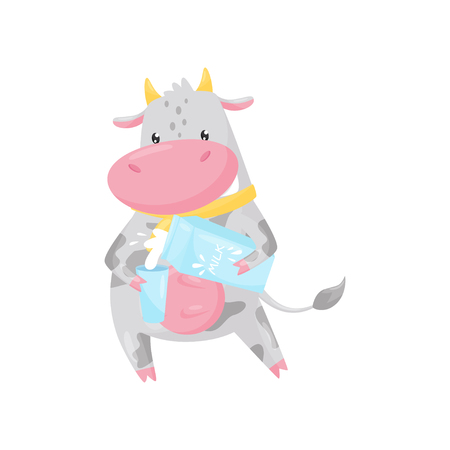 Cute cow pouring milk into a glass, funny farm animal cartoon character vector Illustration isolated on a white background.
