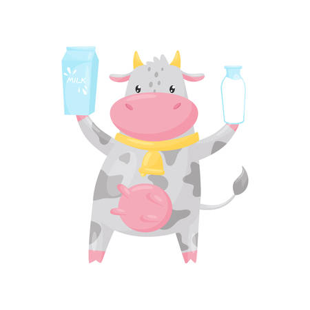 Lovely spotted cow with bottle and paper box of milk, funny farm animal cartoon character vector Illustration isolated on a white background. Illustration