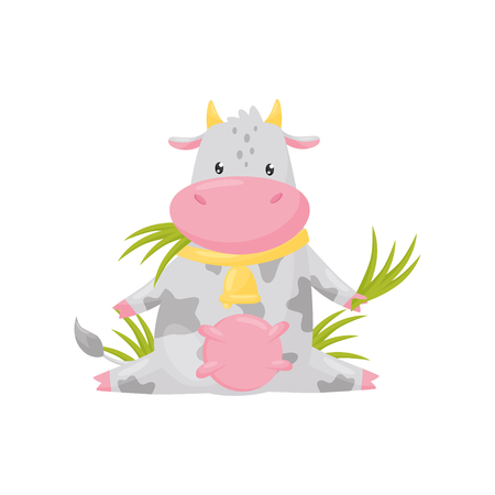 Cute spotted cow sitting and eating grass, funny farm animal cartoon character vector Illustration isolated on a white background.