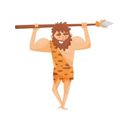 Uomo preistorico dell'età della pietra con lancia, uomini delle caverne primitivi personaggio dei cartoni animati illustrazione vettoriale su sfondo bianco