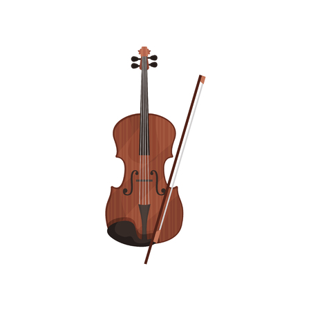 Violin musical instrument vector Illustration isolated on a white background.
