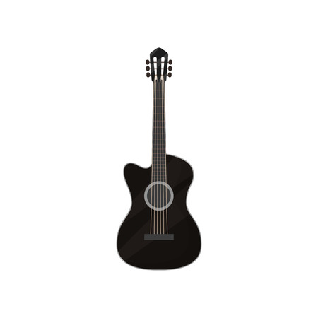 Black electric guitar musical instrument vector Illustration isolated on a white background. Illustration