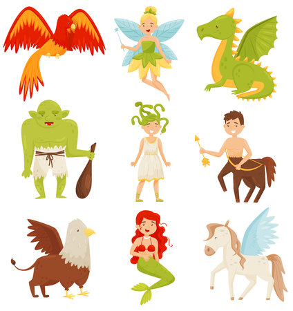 Mythical fairy tale creatures set, Centaur, Pegasus, Griffin, Medusa Gorgon, Mermaid, Dragon, Flaming Phoenix bird vector Illustration